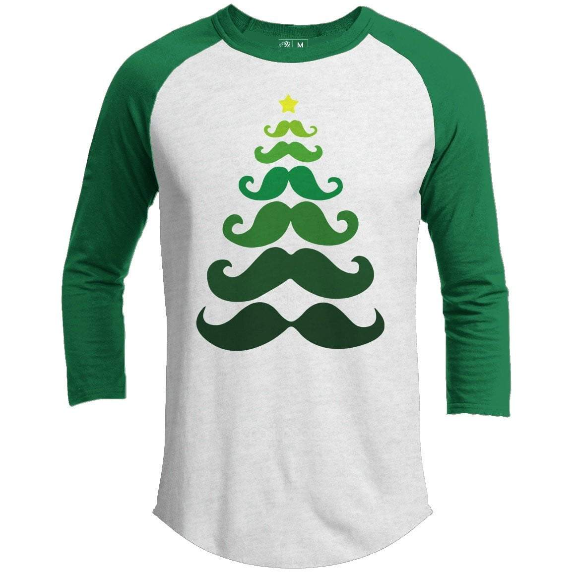 Mustache Tree Premium Youth Christmas Raglan