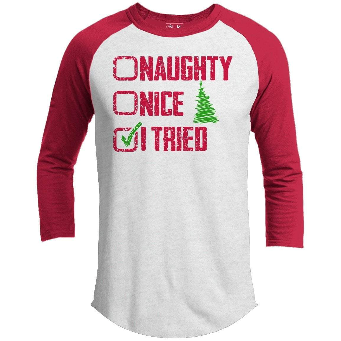 NAUGHTY NICE I TRIED Premium Youth Christmas Raglan