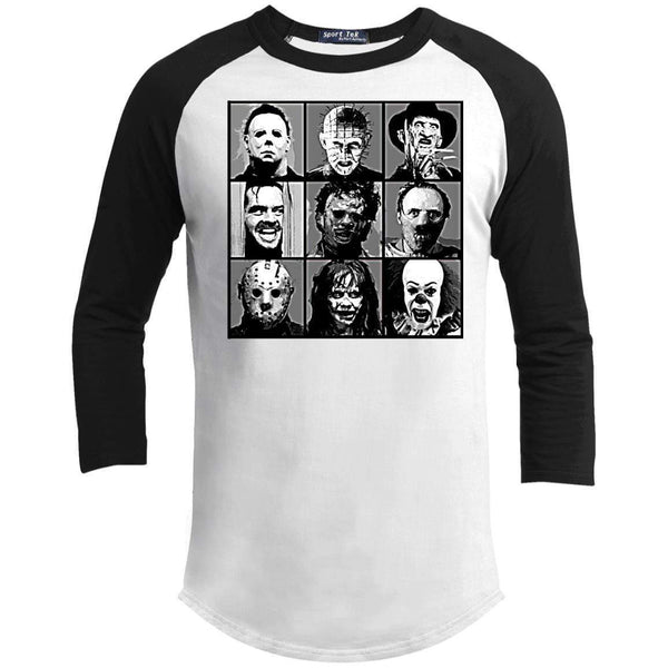 POP HORROR BW Unisex 3/4 Sleeve Raglan