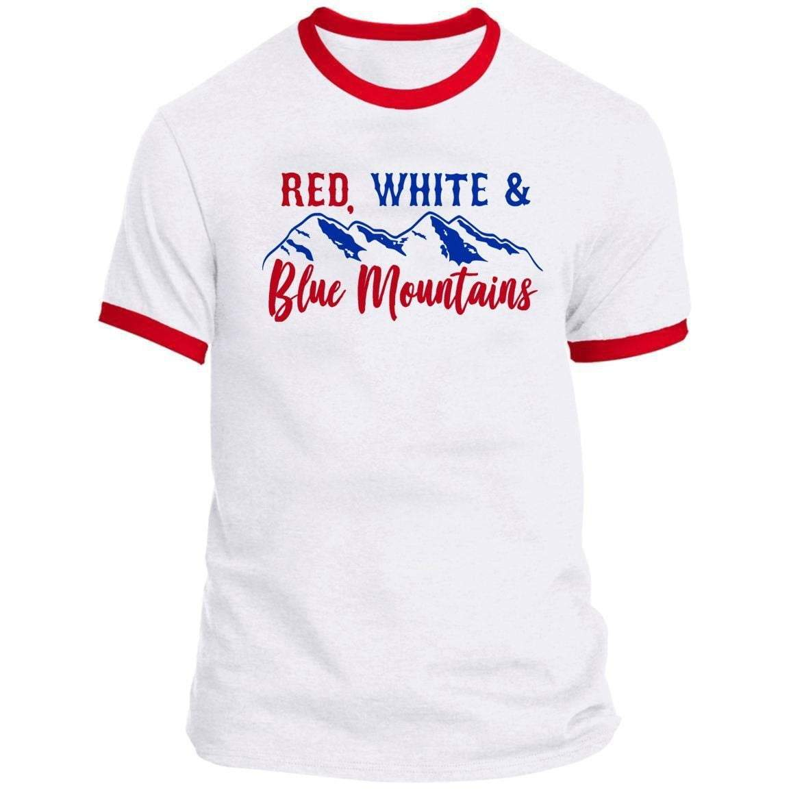 RED WHITE AND BLUE MOUNTAINS Ringer Tee