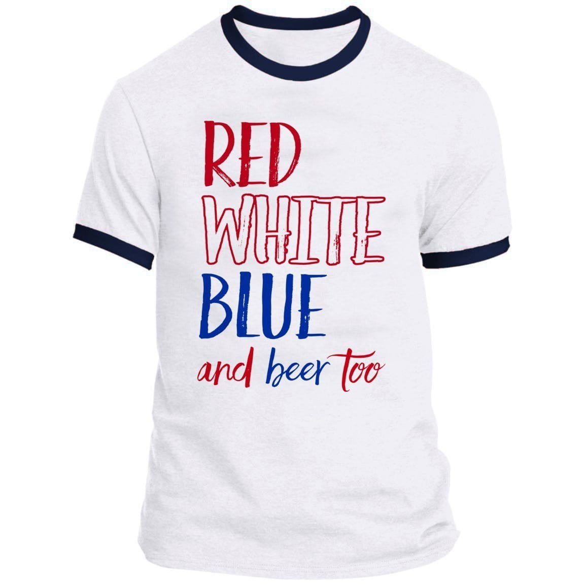 Red White Blue Beer Ringer Tee