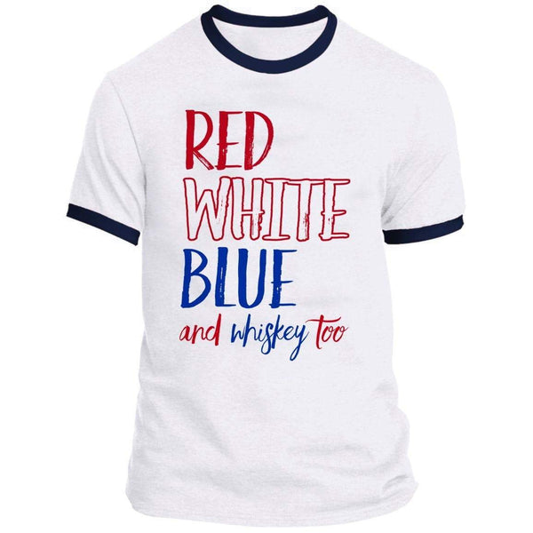 Red White Blue Whiskey Ringer Tee