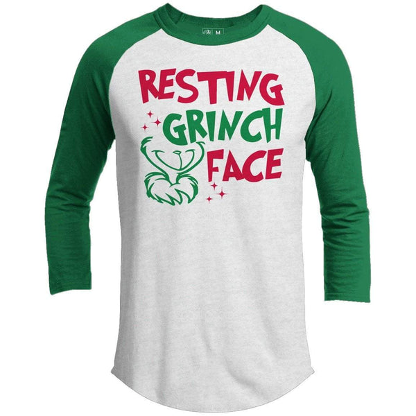 3168ee68189a1 RESTING GRINCH FACE Premium Youth Christmas Raglan – 21 Threads