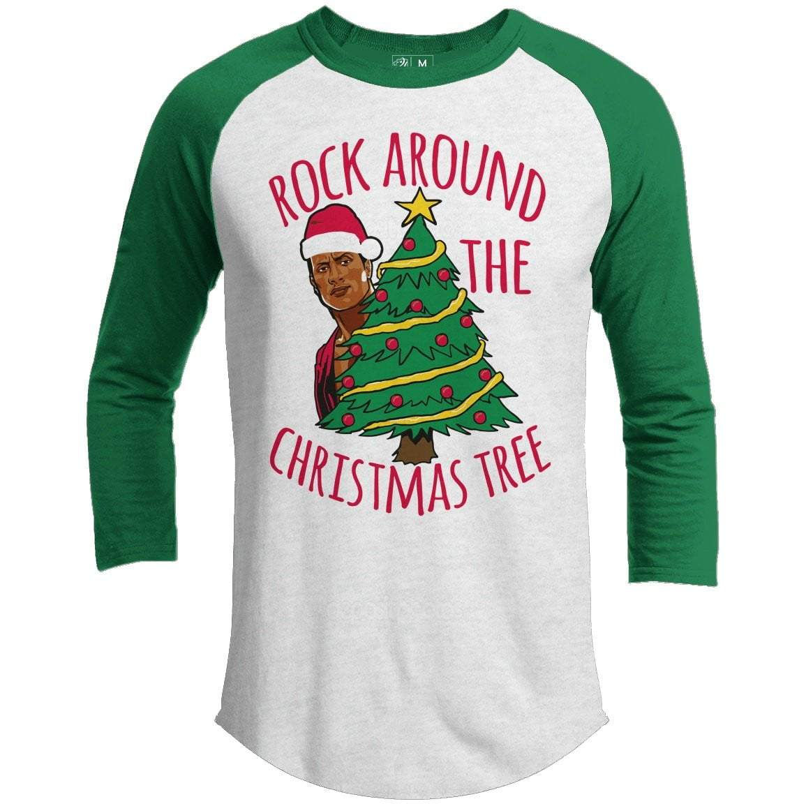 ROCK AROUND THE TREE Premium Youth Christmas Raglan