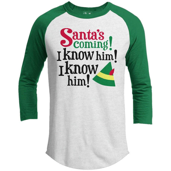 SANTA'S COMING Premium Youth Christmas Raglan