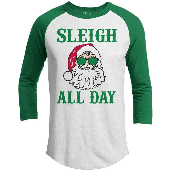 Sleigh All Day Premium Youth Christmas Raglan