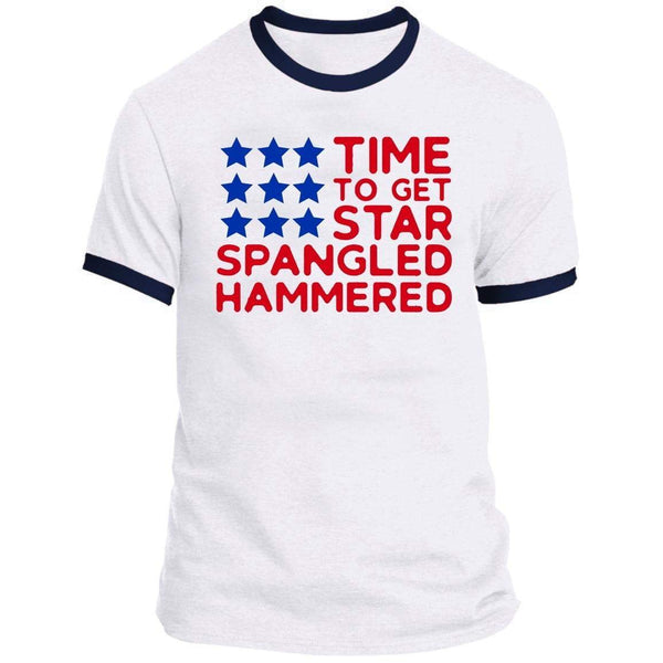 STAR SPANGLED HAMMERED FLAG Ringer Tee