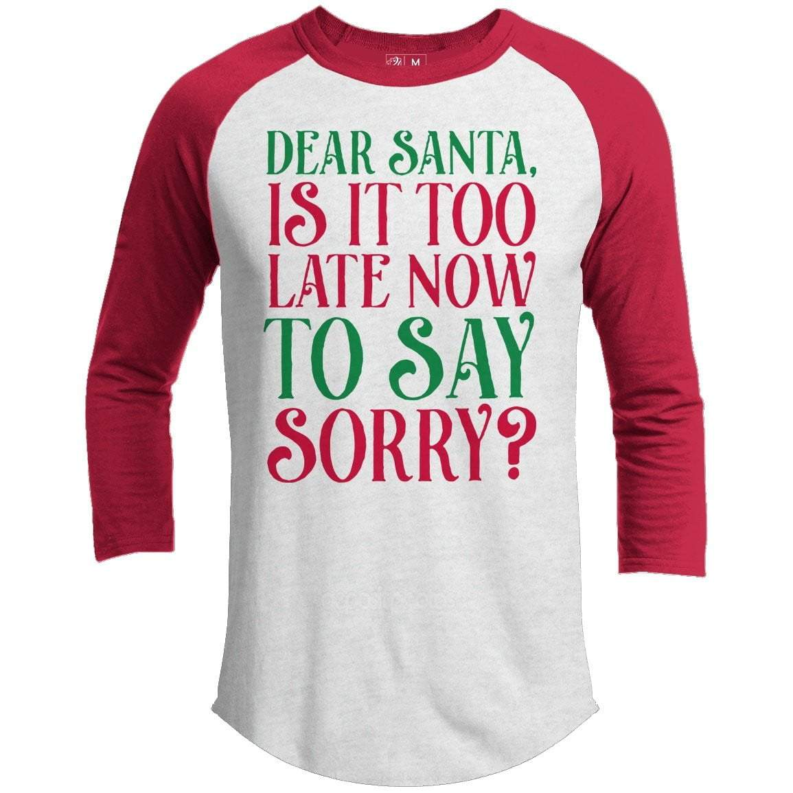 TOO LATE TO SAY SORRY Premium Youth Christmas Raglan