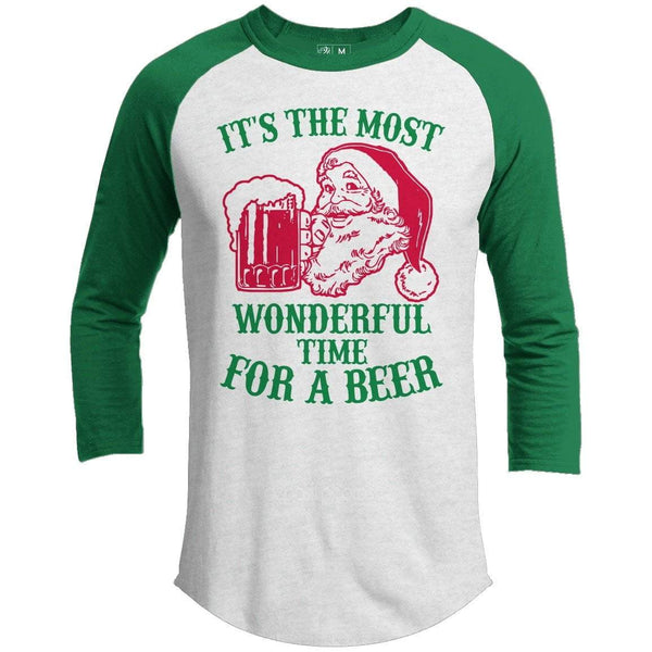 Wonderful Time For A Beer Premium Christmas Raglan
