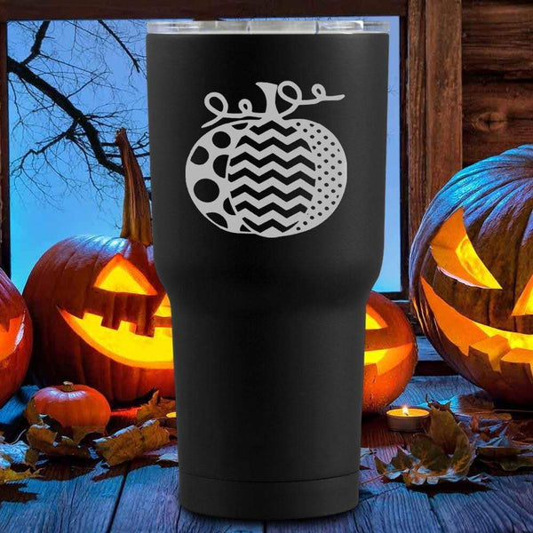 Artsy Pumpkin Halloween Tumblers + Wine Glass
