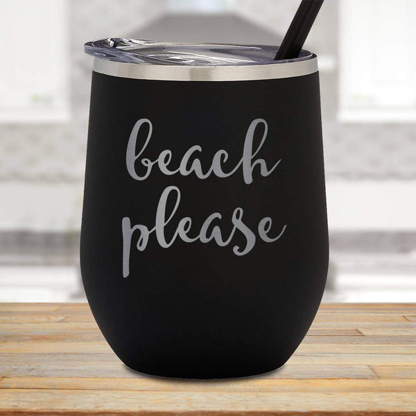 Beach Please Stemless Wine Cup