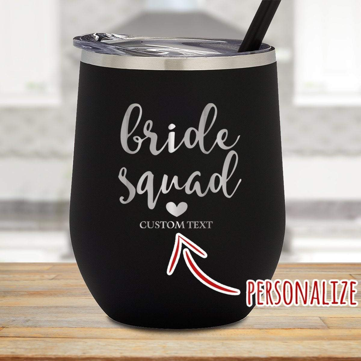 Bride Squad Personalized Stemless Wine Glass