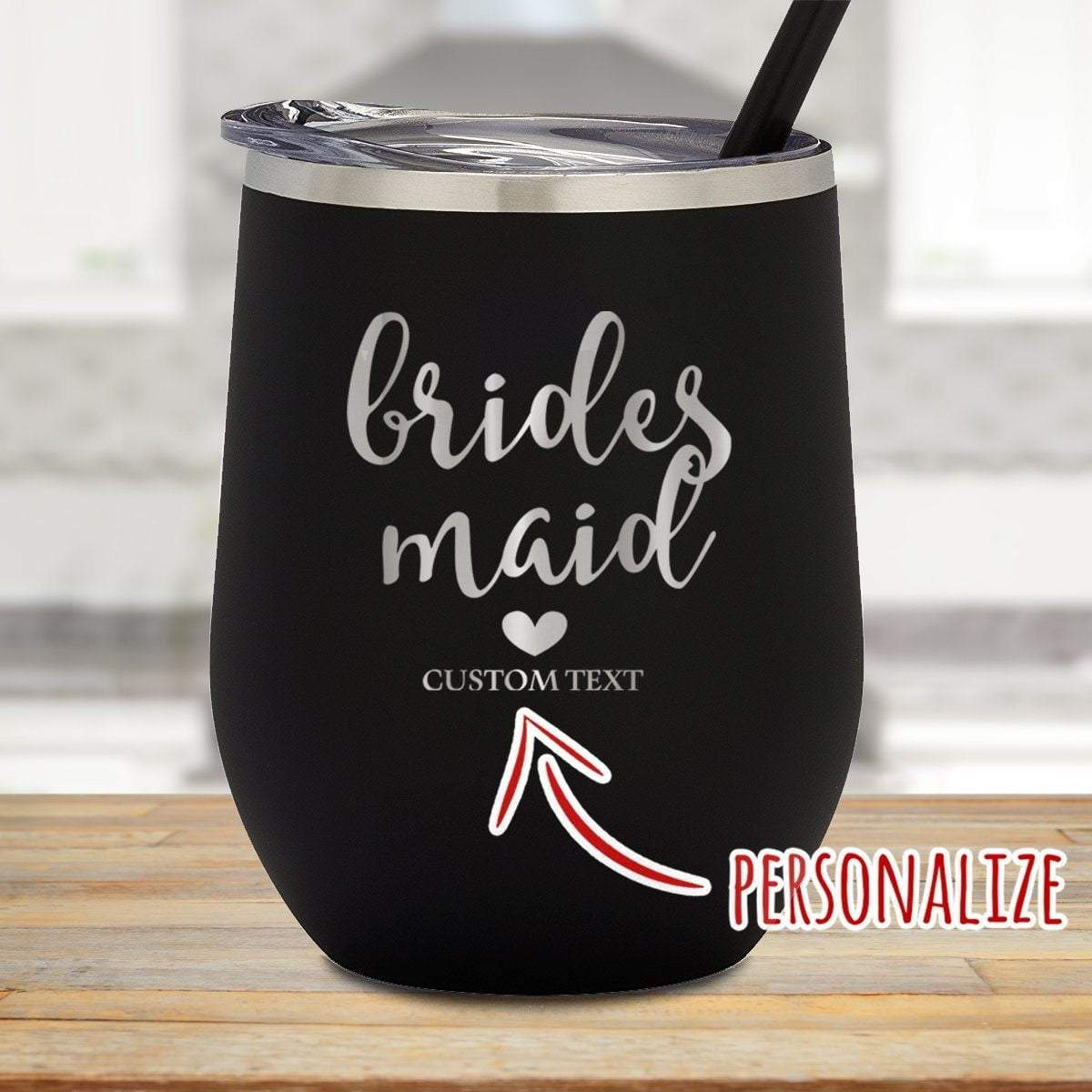 Brides Maid Personalized Stemless Wine Glass