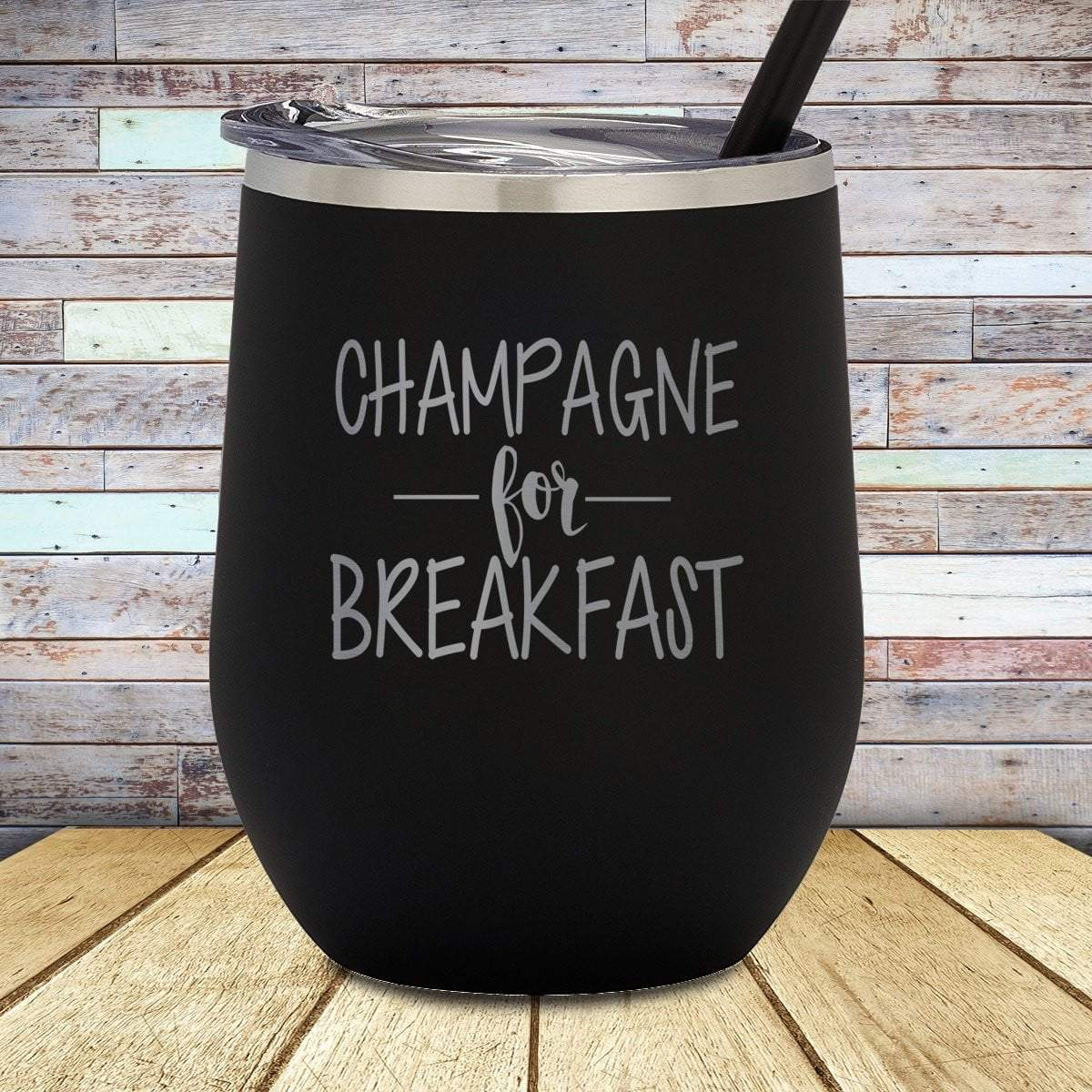 Champagne For Breakfast Stemless Wine Cup