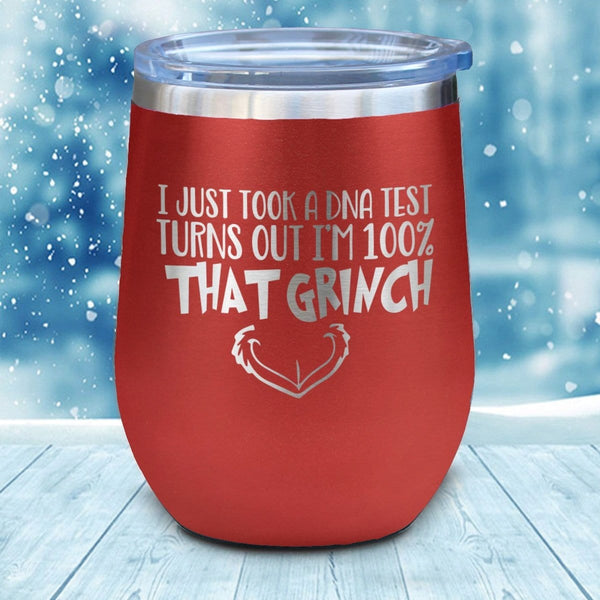 DNA Test Grinch Christmas Wine Glass