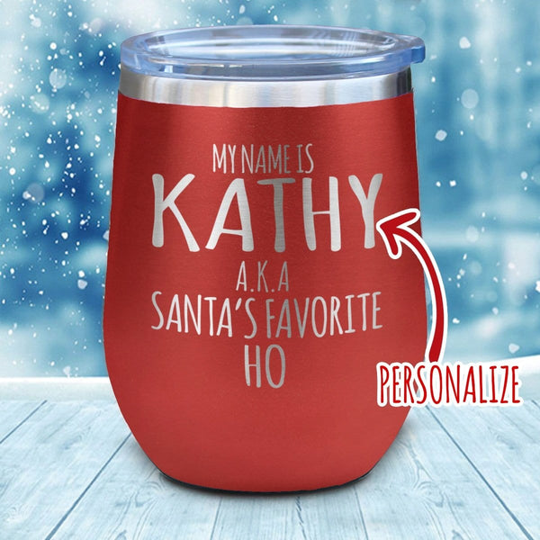Favorite Ho Personalized Christmas Wine Glass