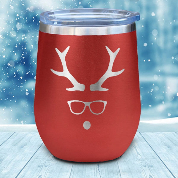 Hipster Rudolph Christmas Wine Glass