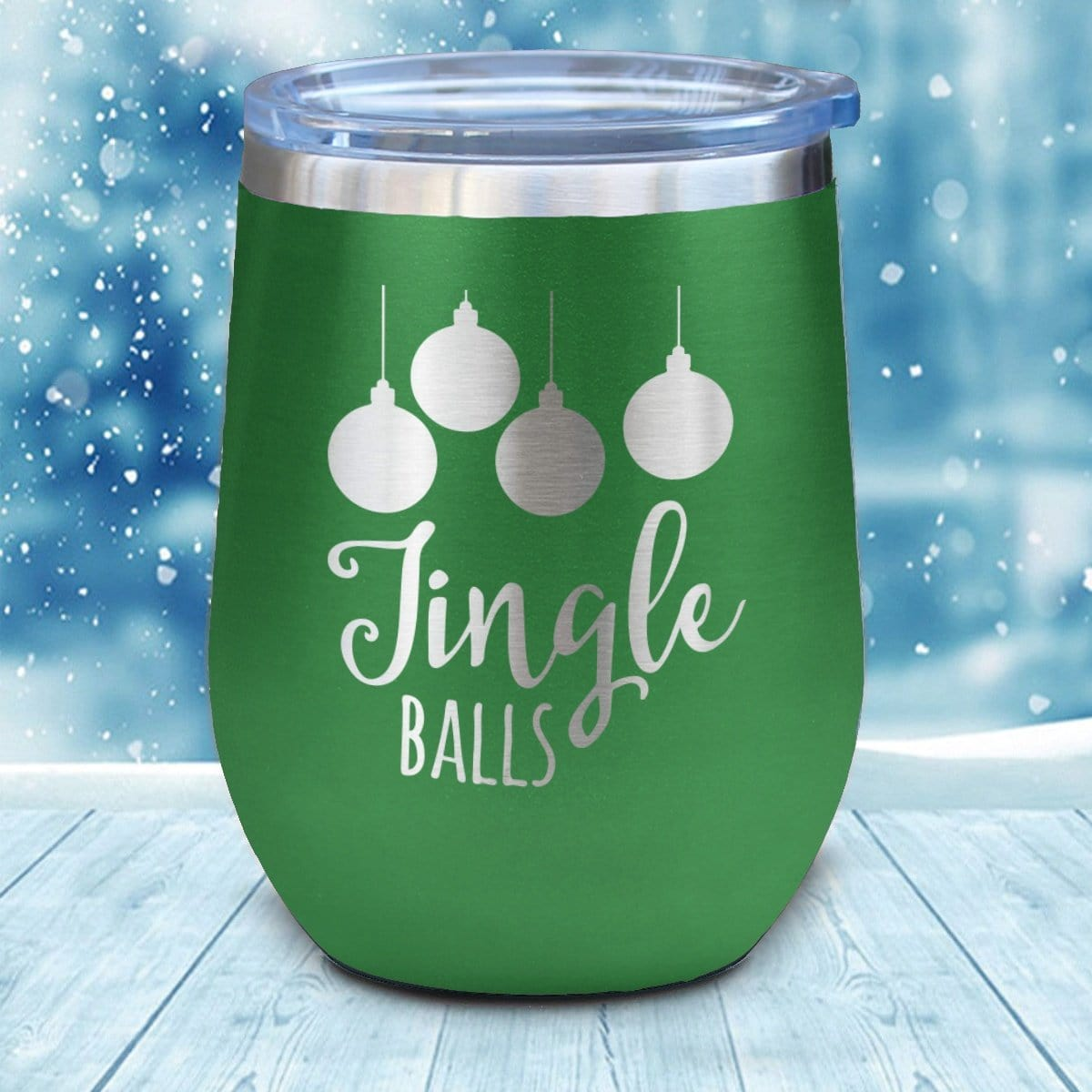Jingle Balls Christmas Wine Glass