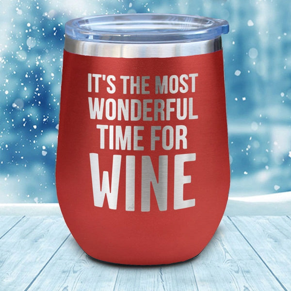 Most Wonderful Time For Wine Christmas Wine Glass