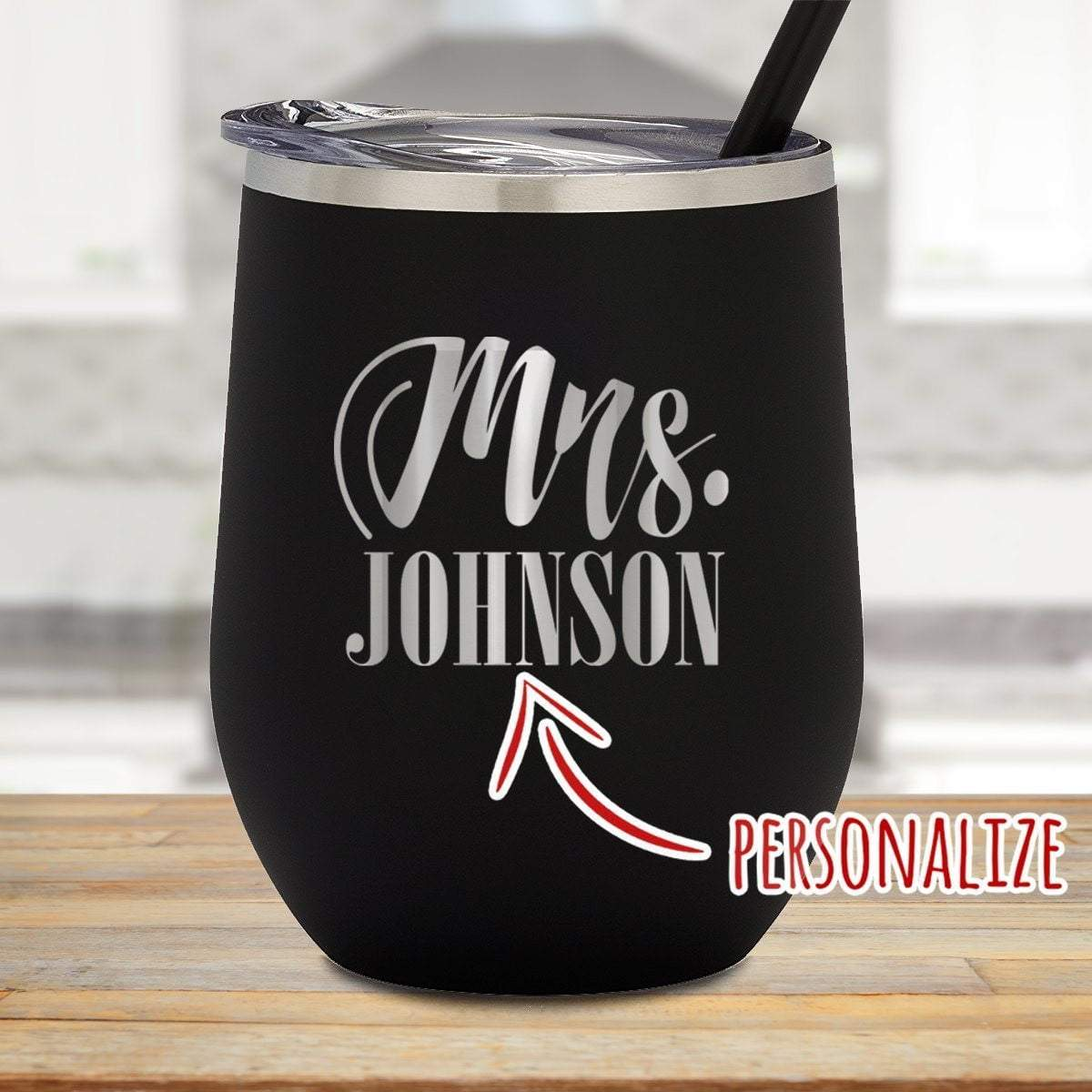 Mrs. Personalized Stemless Wine Glass