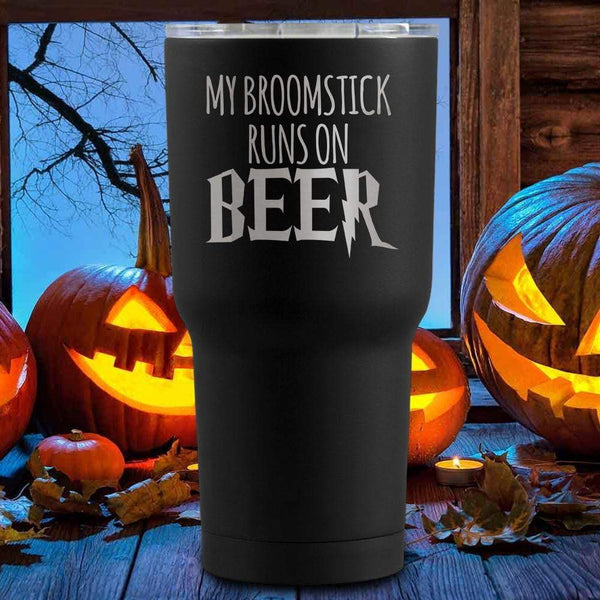 My Broom Runs On Beer Halloween Tumblers + Wine Glass
