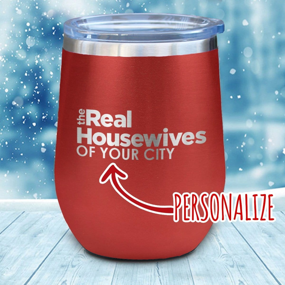 Real Housewives Personalized Christmas Wine Glass