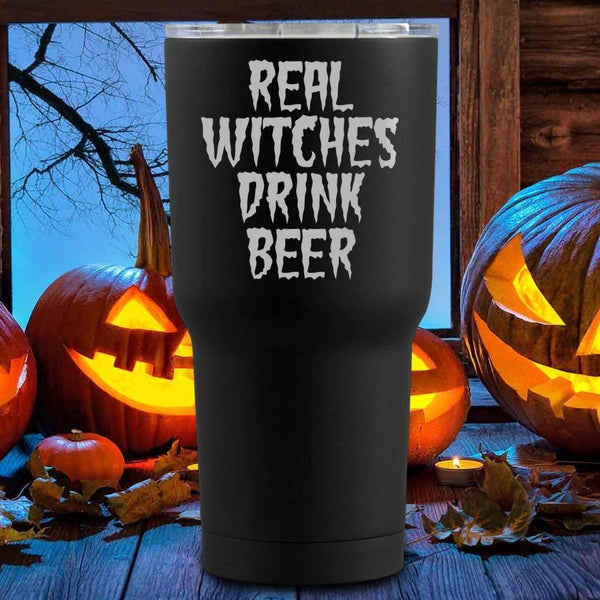 Real Witches Drink Beer Halloween Tumblers + Wine Glass