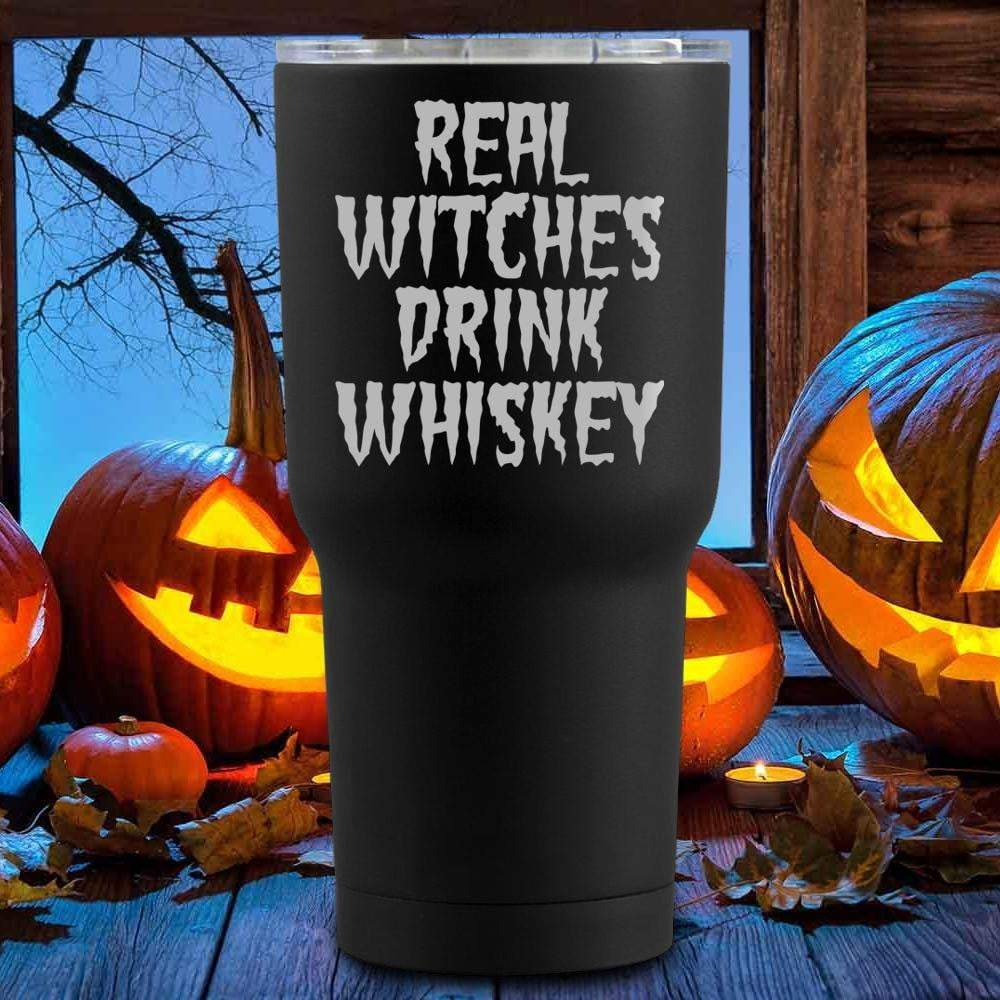 Real Witches Drink Whiskey Halloween Tumblers + Wine Glass