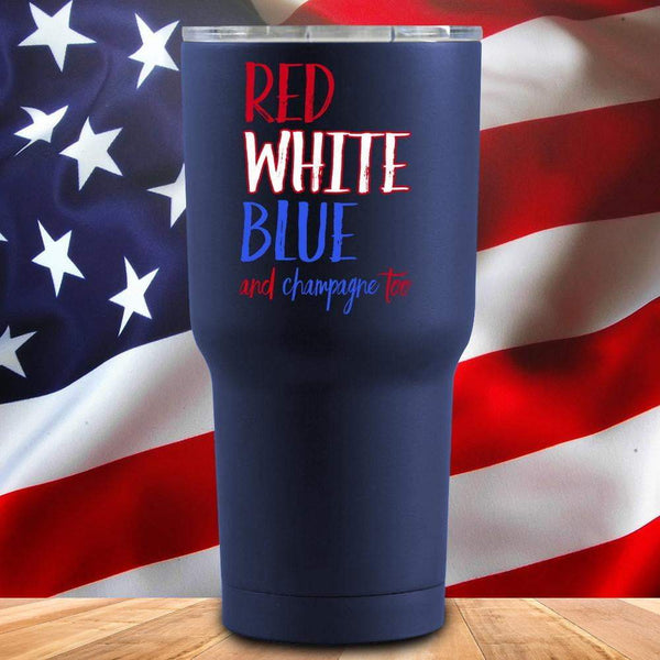Red White Blue Champagne 3D UV Tumbler