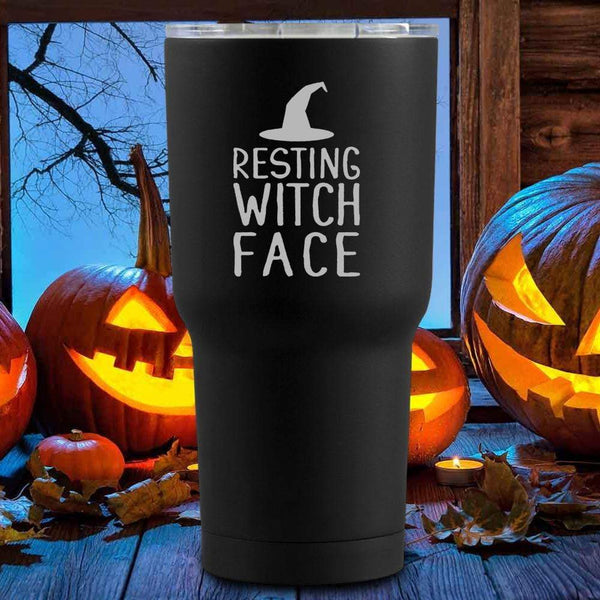 Resting Witch Face Halloween Tumblers + Wine Glass
