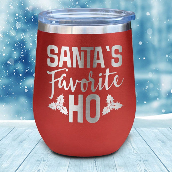 Santa's Favorite Ho Christmas Wine Glass