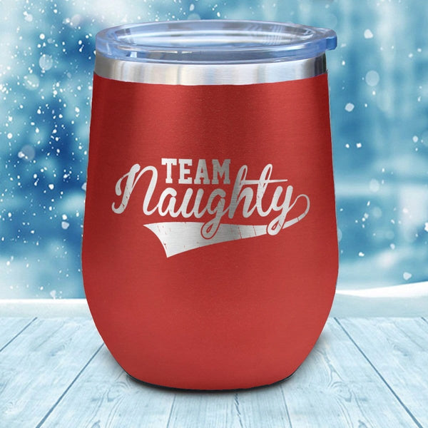 Team Naughty Christmas Wine Glass