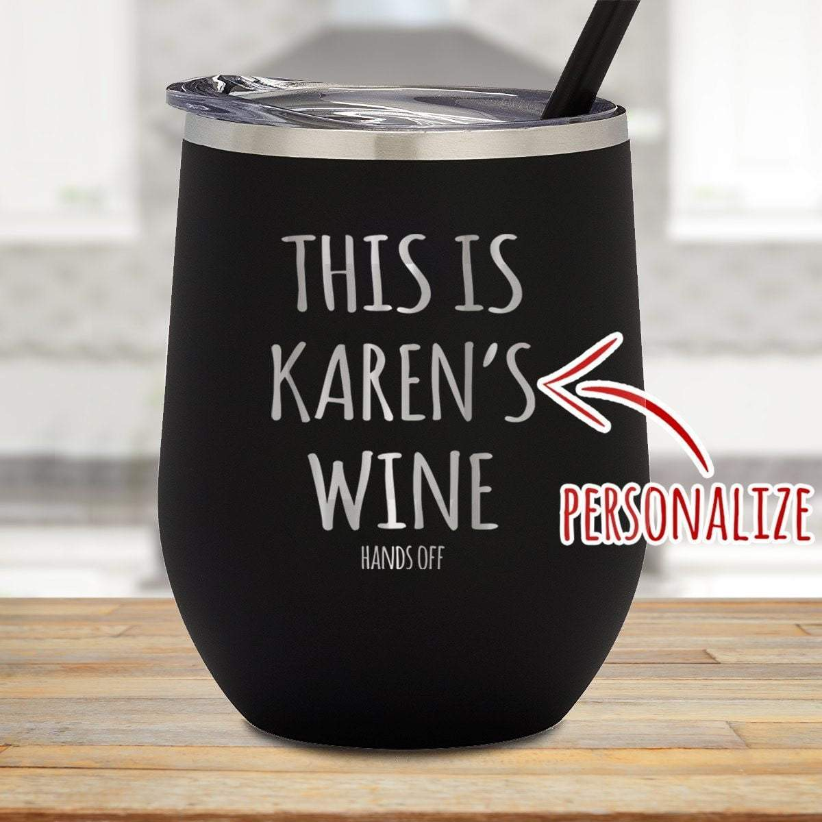 This Is Wine Hands Off Personalized Stemless Wine Glass