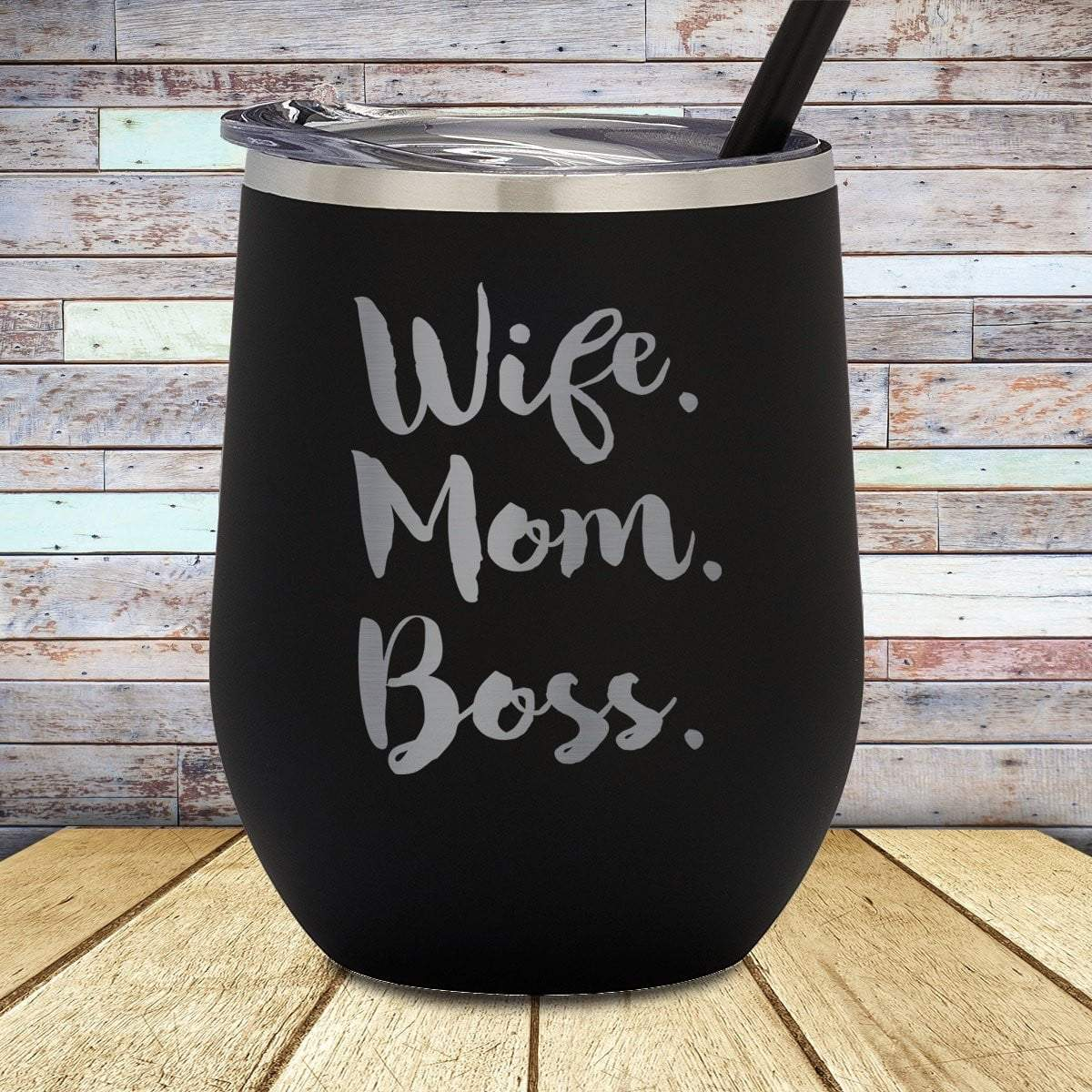 Wife Mom Boss Stemless Wine Cup