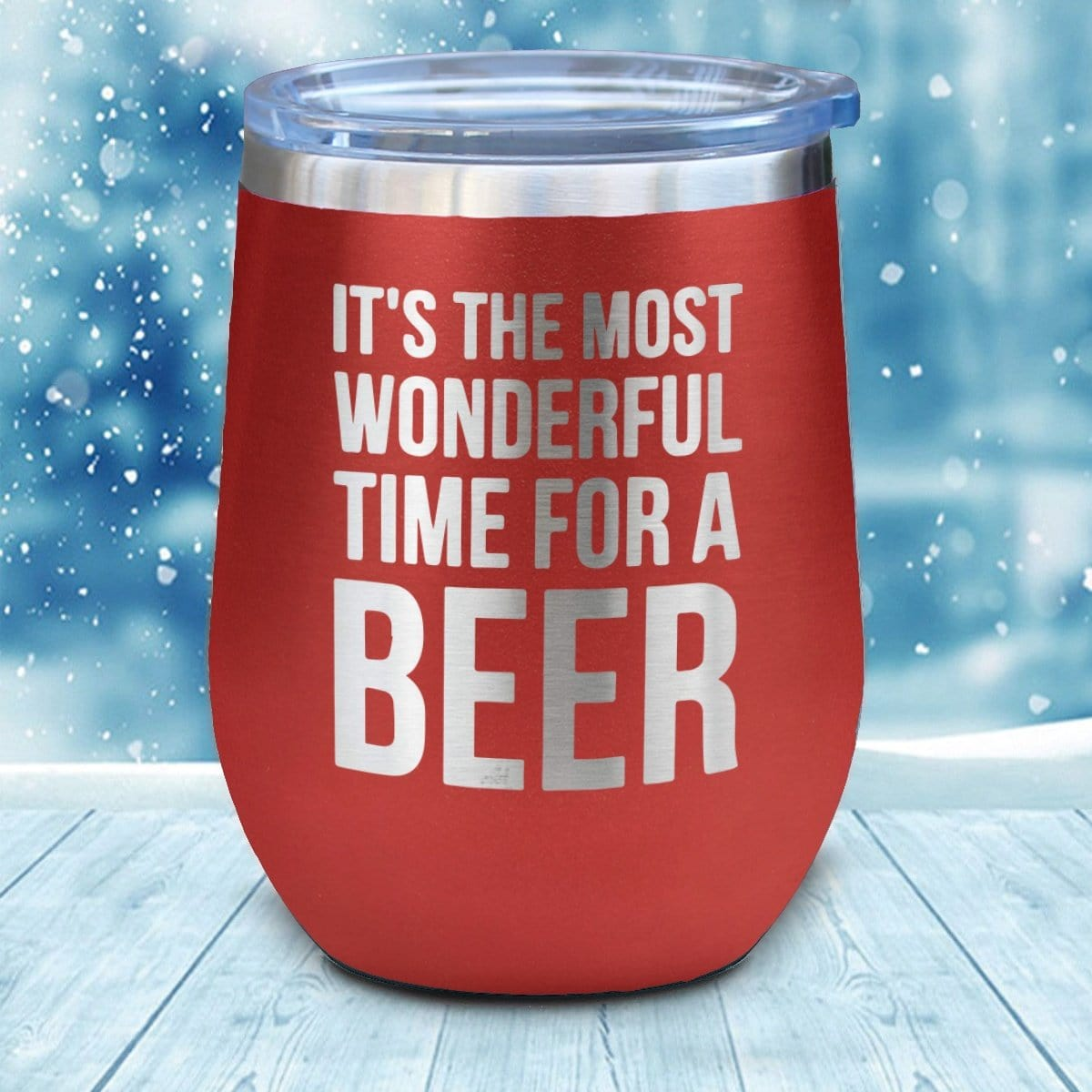 Wonderful Time For A Beer Christmas Wine Glass