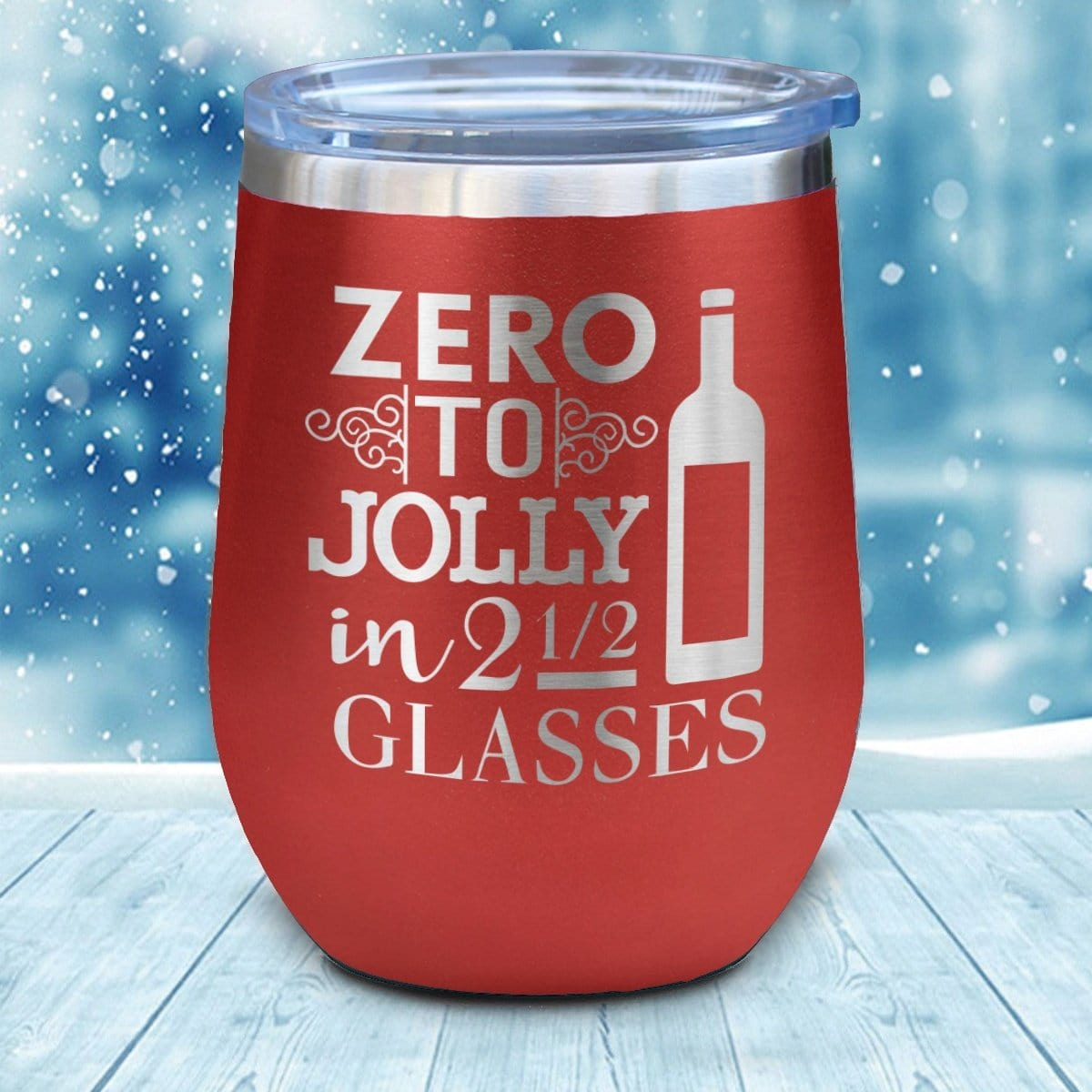 Zero To Jolly Christmas Wine Glass