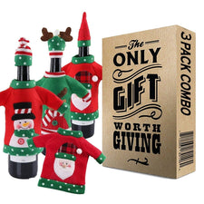 Wine Bottle Cover - Christmas Wine Bottle Ugly Sweater 3 Pack