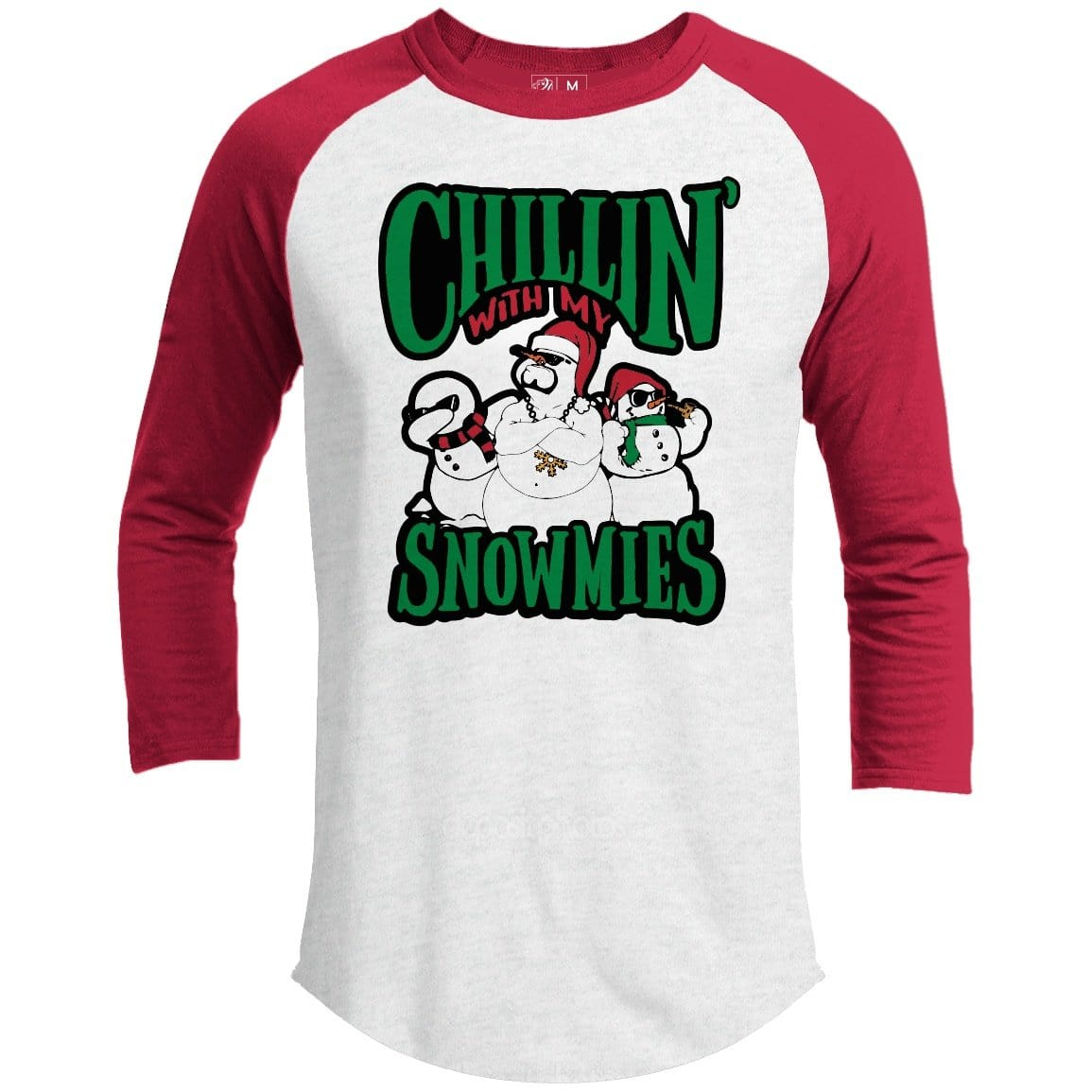 Chillin' With My Snowmies Premium Youth Christmas Raglan