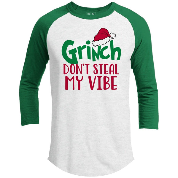 Grinch Don't Steal My Vibe Premium Youth Christmas Raglan