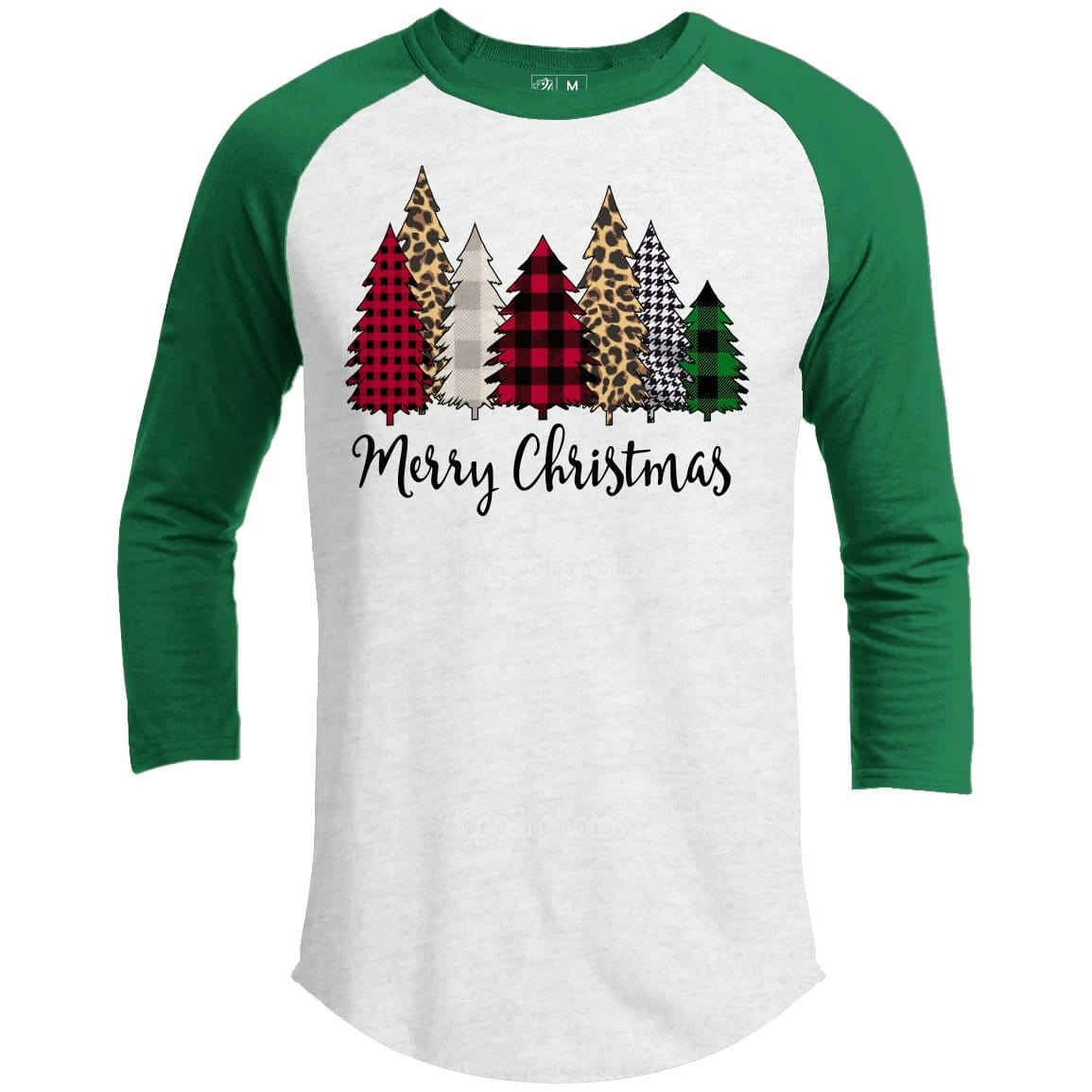 Merry Christmas Trees Premium Youth Christmas Raglan