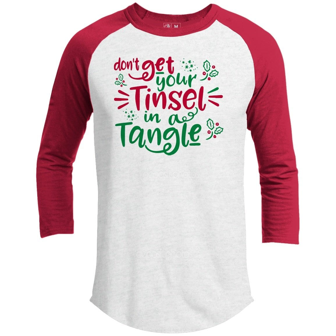 Tinsel In A Tangle Premium Youth Christmas Raglan