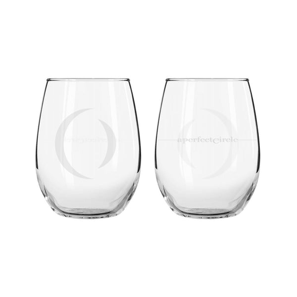 Etched Logo Stemless Wine Glass