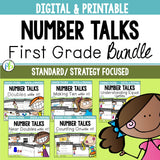 Number Talks BUNDLE: First Grade Standard Focused (Digital and Printable)