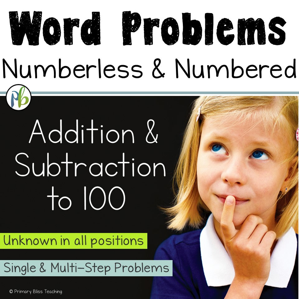 Numberless & Numbered Word Problems (Story Problems within 100)