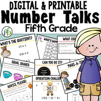 Number Talks -  (Digital and Printable) Yearlong Program for Fifth Grade