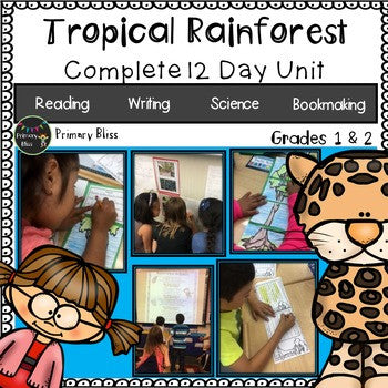 Rainforest (rain forest) animals science and literacy unit for first and second grade includes informational reading, writing, science, and bookmaking.