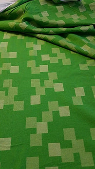 Custom Cotton/ Lycra: Pixel Green Blocks