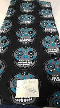 Remnant #0318-35: Cotton/ Lycra Knit Skulls 1 3/8y