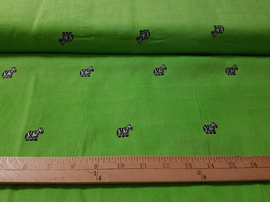 Embroidered Corduroy: Zebra on Green
