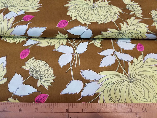 Large Floral on Brown- Cotton Woven
